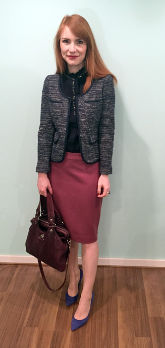 Skirt, blouse & shoes, J. Crew (via consignment); jacket, BR (via consignment); bag, MbMJ