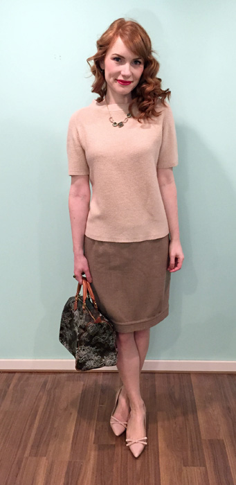 Sweater, Judith & Charles (via consignment); skirt, Valentino (via consignment); necklace, Alexis Bittar; shoes, Prada; bag, Louis Vuitton