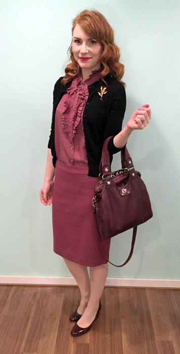 Blouse, skirt & shoes, J. Crew; cardigan, J. Crew Factory; bag, MbMJ