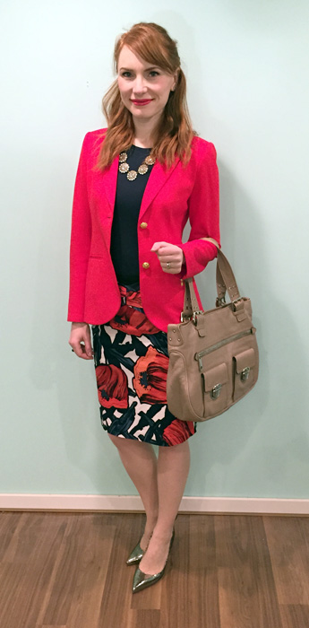 Blazer, Theory (via consignment); top, Joe Fresh; skirt, Anthropologie (via eBay); necklace, J. Crew Factory; shoes, Ivanka Trump; bag, Marc Jacobs