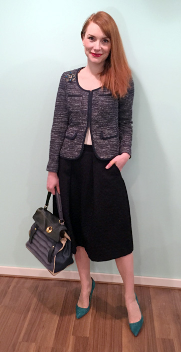 Blazer, BR (thrifted); skirt, Zara; camisole, Costco; shoes, J. Crew; bag, YSL (via eBay)