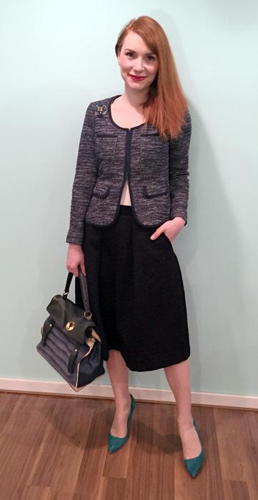 Blazer, BR (thrifted); skirt, Zara; camisole, Costco; shoes, J. Crew; bag, YSL (via eBay)
