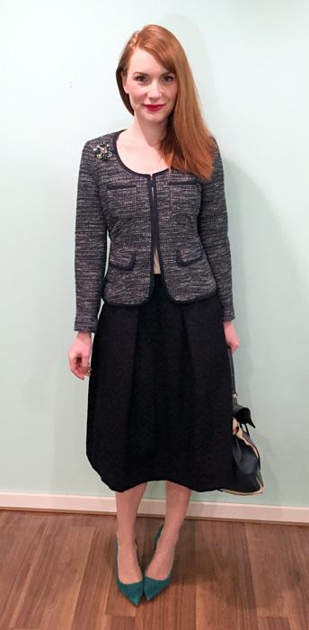 high waisted skirt + cropped jacket = success