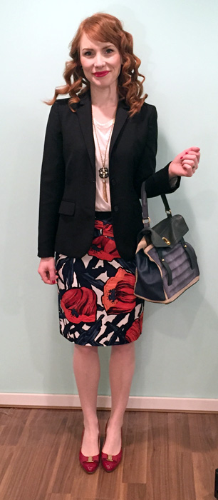 Blazer, J. Crew (thrifted): top, J. Crew Factory; skirt, Anthropologie (via eBay); necklace, BR; shoes, Ferragamo; bag, YSL