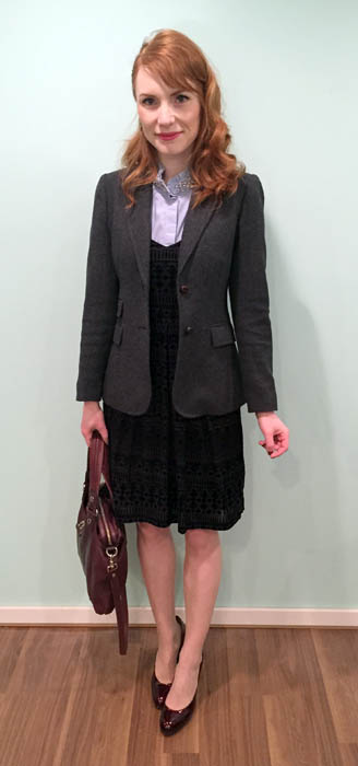 Blazer & blouse, J. Crew Factory; dress, Anthropologie (thrifted); shoes, Stuart Weitzman (via consignment); bag, MbMJ