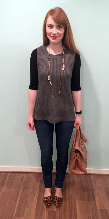 Sweater, Joe Fresh; top, H&M; jeans, Joe's (via consignment); shoes, J. Crew Factory; bag. Mulberry (via consignment); necklace, Lulu Frost