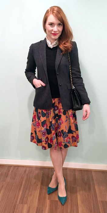 Blazer, blouse & sweater, J. Crew Factory; skirt, Anthropologie (via eBay); shoes, J. Crew; bag, vintage Chanel (via consignment)