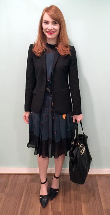 Dress, 3.1 Phillip Lim; blazer, J. Crew (thrifted); shoes, Nine West; belt, H&M; bag, Gucci (via consignment)