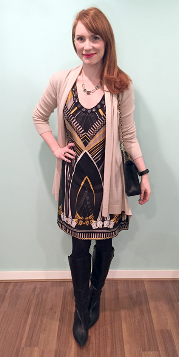 Dress, Ted Baker (via consignment); cardigan, Theory; shoes, Bandolino (thrifted); bag, vintage Chanel (via consignment)