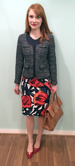 Blazer, Banana Republic (thrifted); top, Joe Fresh; skirt, Anthropologie (via eBay); shoes, Ferragamo (via consignment); bag, Mulberry (via consignment)