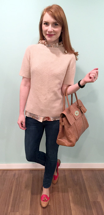 Sweater, Judith & Charles; top & shoes, J. Crew; jeans, Joe's Jeans; bag, Mulberry