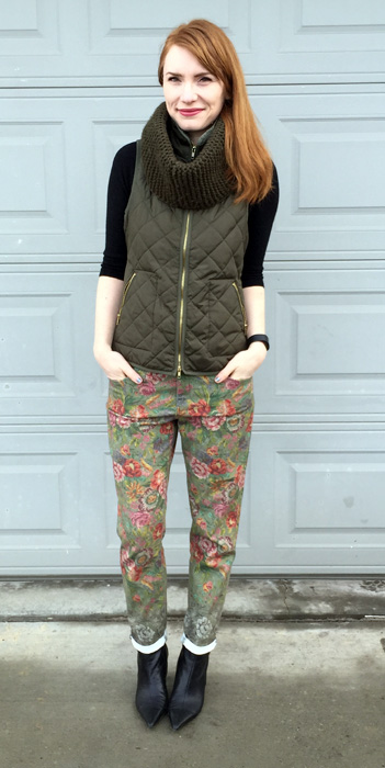 Pants, Anthropologie; vest, Old Navy; sweater, J. Crew Factory; boots, Nine West (thrifted); scarf, Aldo
