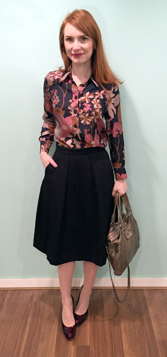 Top, See by Chloe (thrifted); skirt, Zara; shoes, Stuart Weitzman (via consignment); bag, MbMJ