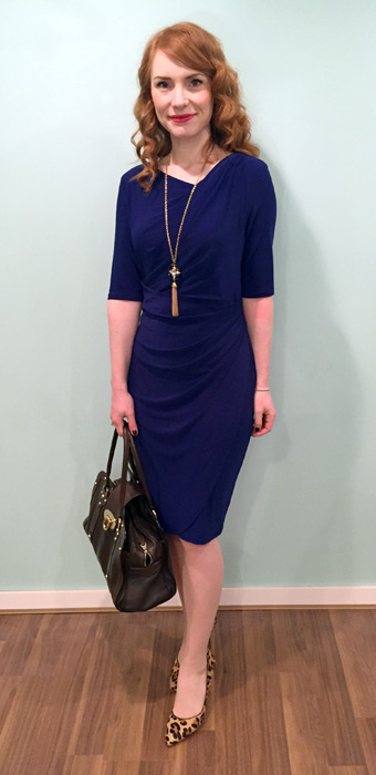 Dress, Ralph Lauren (thrifted); necklace, BR; shoes, Anne Klein; bag, Mulberry