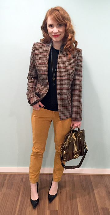 Blazer, J. Crew; sweater, J. Crew Factory; pants, Anthropologie (thrifted); shoes, Stuart Weitzman; necklace, Tiffany; bag, Mulberry (via eBay)