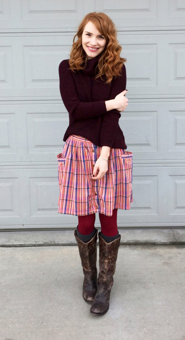 Sweater, Joe Fresh; skirt, Marc Jacobs (via consignment); boots, Frye