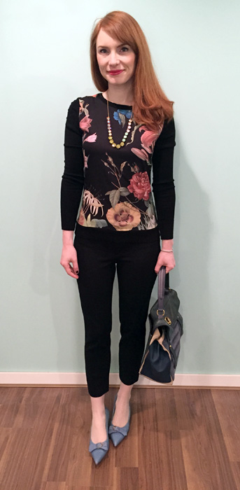 Top, Simons (via consignment); necklace, J. Crew; pants, BR; shoes, Ferragamo (thrifted); bag, YSL (via eBay)