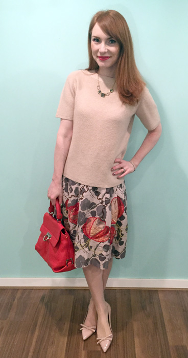 Sweater, Judith & Charles (via consignment); skirt, Anthropologie (thrifted); shoes, Prada; bag, Ferragamo