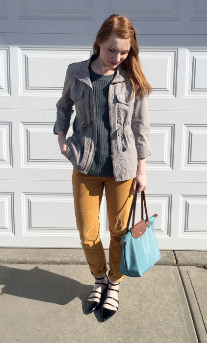 Jacket, J. Crew (via consignment); sweater, Joe Fresh; pants, Pilcro (thrifted); shoes, Zara; bag, Longchamp