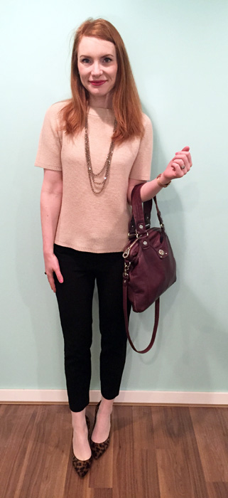 Sweater, Judith & Charles (via consignment); pants, BR; necklace, Cleo; shoes, J. Crew (thrifted); bag, MbMJ