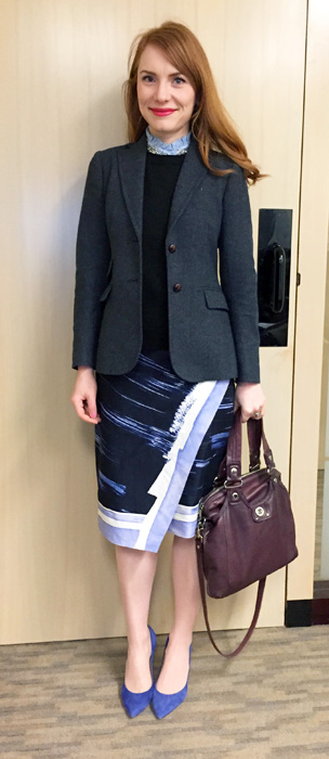 Blazer, sweater & top, J. Crew Factory; skirt, BR; shoes, J. Crew; bag, MbMJ