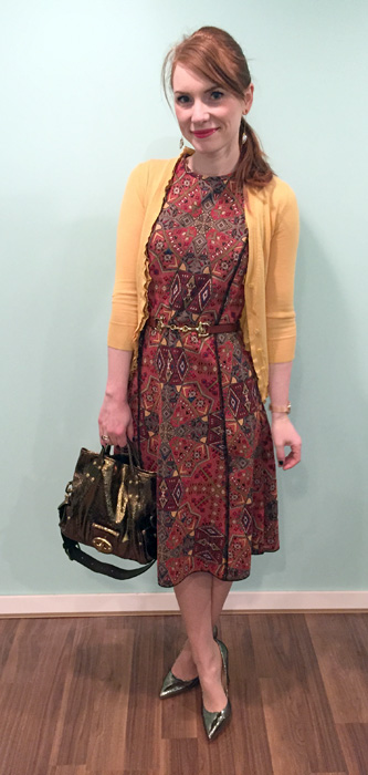 Dress, Zara (thrifted); cardigan, J. Crew (via eBay); belt, Holt Renfrew; shoes, Ivanka Trump; bag, Mulberry (via eBay)