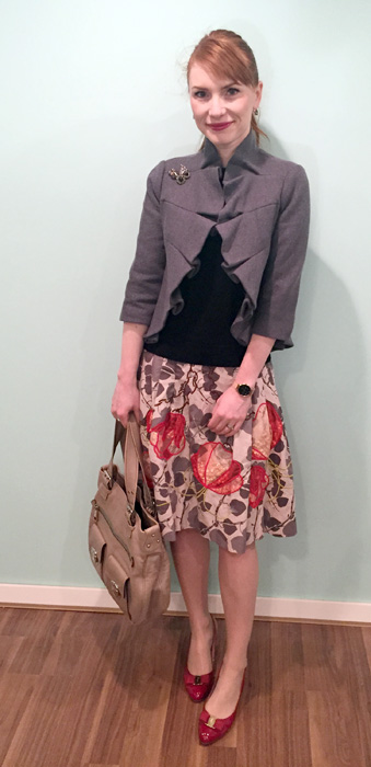 Jacket & skirt, Anthropologie; shoes, Ferragamo; bag, Marc Jacobs