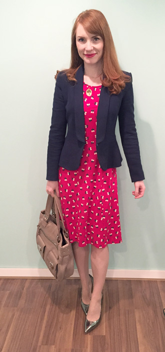 Dress, Boden; blazer, Zara; shoes, Ivanka Trump; bag, Marc Jacobs