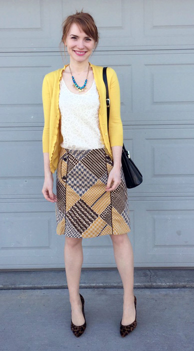 Skirt, Anthropologie (thrifted); top, LOFT (swap); cardigan, J. Crew (via eBay); shoes, J. Crew (thrifted); bag, Longchamp (thrifted)