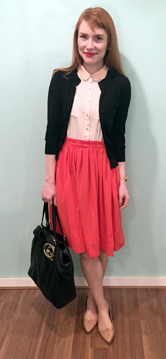 Dress, Anthropologie (thrifted); cardigan, J. Crew Factory; shoes, Stuart Weitzman; bag, Gucci