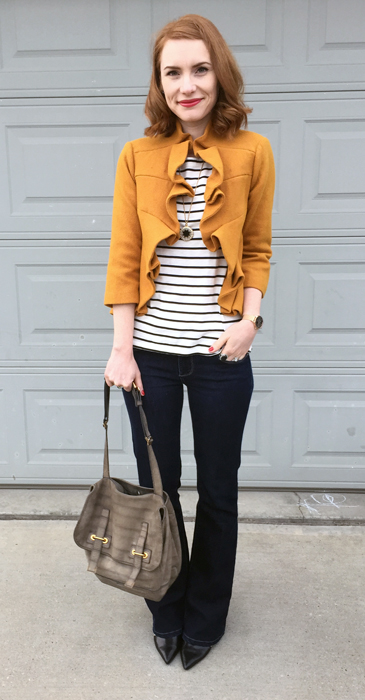 Jacket, Anthropologie (via eBay); top & necklace, J. Crew Factory; jeans, Paige (thrifted); shoes, Nine West