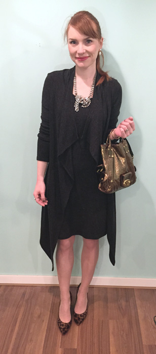 Dress, Joseph Ribkoff (thrifted); shoes, J. Crew (thrifted); bag, Mulberry (via eBay)