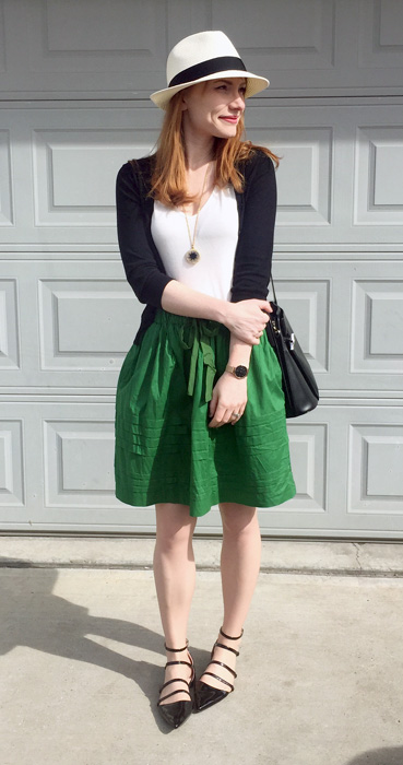 Skirt, Anthropologie (thrifted); top, Joe Fresh; cardigan & necklace, J. Crew Factory; shoes, Zara; hat, Talula; bag, Longchamp (thrifted)