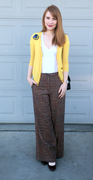 Cardigan & shoes, J. Crew; top, James Perse; pants, Anthropologie (thrifted); bag, Mulberry