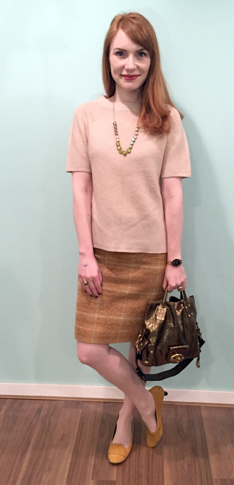 Sweater, Judith & Charles; necklace, J. Crew; skirt, J. Crew Factory (thrifted); shoes, Tod's; bag, Mulberry