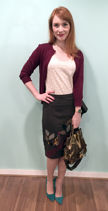 Skirt, Anthropologie (via eBay); top, LOFT; cardigan, J. Crew Factory; shoes, J. Crew; bag, Mulberry