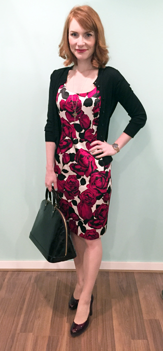 Dress, Joseph Ribkoff (thrifted); cardigan, J. Crew Factory; shoes, Stuart Weitzman; bag, LV