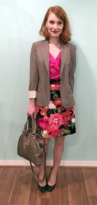 Dress, Anthro (thrifted); blazer, Theory (thrifted); shoes, Ivanka Trump; bag, MbMJ