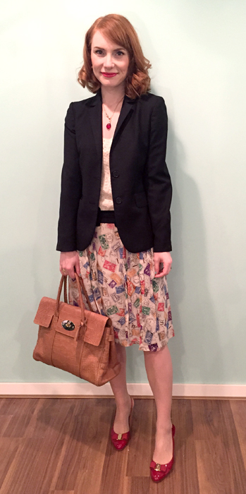 Blazer, J. Crew (thrifted); top, LOFT (swap); skirt, Anthro (via eBay); shoes, Ferragamo (via consignment); bag, Mulberry (via eBay)