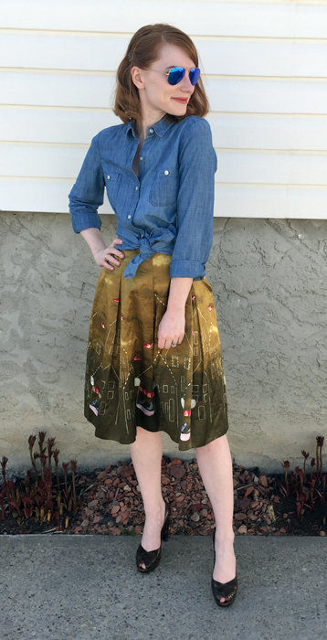 Shirt, Old Navy; skirt, Anthropologie (thrifted); shoes, Stuart Weitzman (thrifted); sunglasses, Rayban