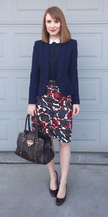 Blazer, Zara (swap); top, Club Monaco (consignment); skirt, Boden (eBay); shoes, J. Crew; bag, Mulberry (via eBay)