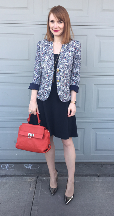 Dress, BR (swap); blazer, J. Crew (via consignment); shoes, Ivanka Trump; bag, Ferragamo