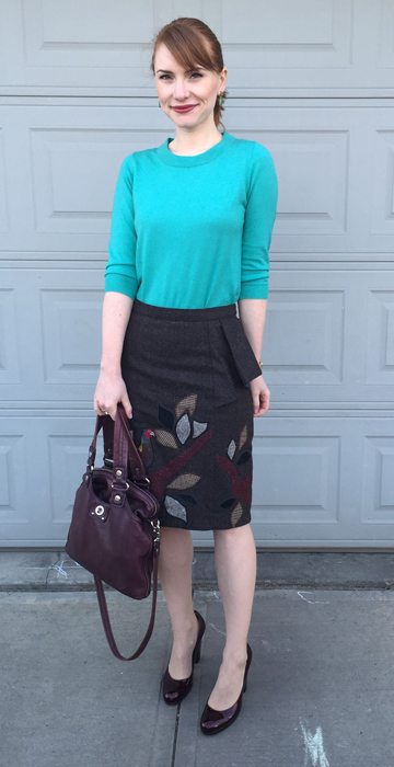 Skirt, Anthropologie (via eBay); sweater, J. Crew Factory; shoes, Stuart Weitzman; bag, MbMJ
