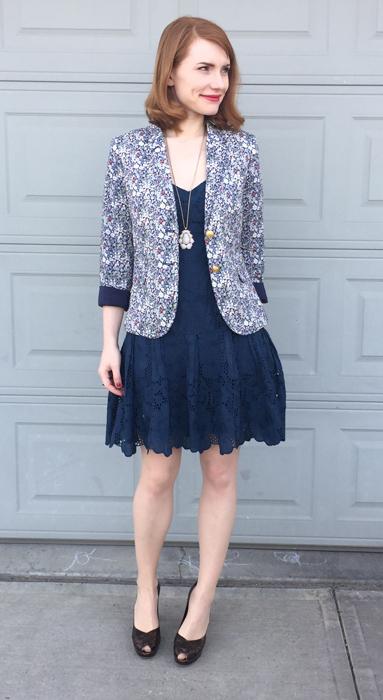 Dress, Nanette Lepore (thrifted); blazer, J. Crew (via consignment); shoes, Stuart Weitzman (thrifted)