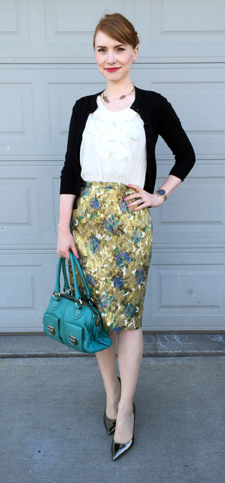Dress, Anthropologie (via eBay); cardigan, J. Crew Factory; shoes, Ivanka Trump; bag,. Marc Jacobs