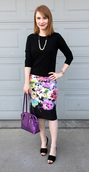 Dress, New York & Co.; sweater, J. Crew Factory; necklace, J. Crew; shoes, Vince; bag, Arcadia (thrifted)