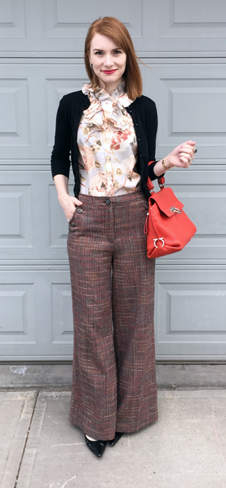 Pants, Anthropologie (thrifted); top, J. Crew (via consignment); cardigan, J. Crew Factory; shoes, Stuart Weitzman; bag, Ferragamo
