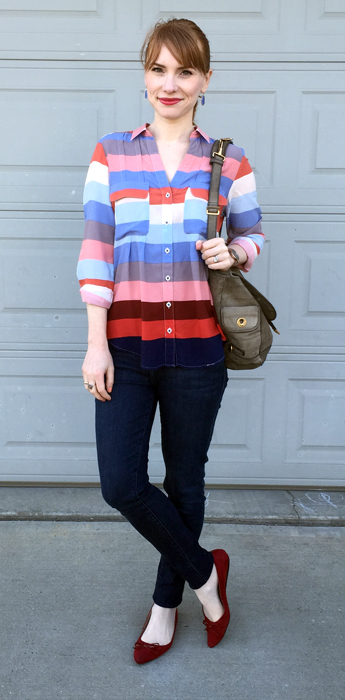 Top, Anthropologie (thrifted); jeans, William Rast (thrifted); shoes, Ellen Tracy; bag, YSL