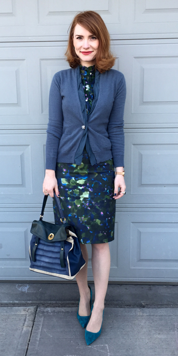 cardigan, Nougat (thrifted); top & skirt, J. Crew (via consignment & eBay); shoes, J. Crew; bag, YSL