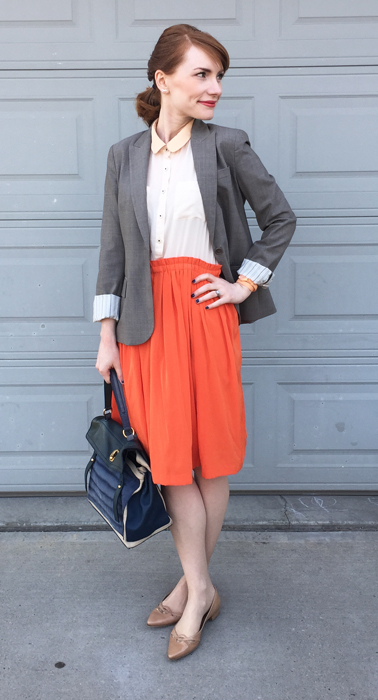 Blazer, Theory (thrifted); dress, Anthropologie (thrifted); shoes, Stuart Weitzman; bag, YSL